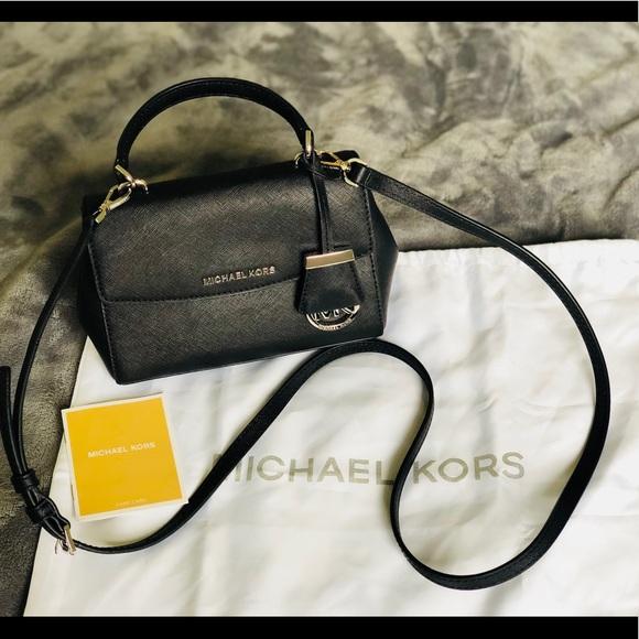 a260f7af2424 Michael Kors Ava Mini Crossbody Black and Silver